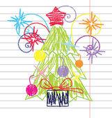 Crayon Christmas tree vector — Stock Vector