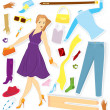 Stock Vector: Clothes and girl sticker vector