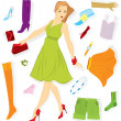 Royalty-Free Stock Vector Image: Clothes sticker and girl vector