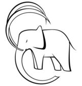 Black and white elephant vector — Stock Vector