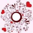 Vector de stock : Heart stickers swirl frame vector