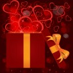 魔法光礼品盒的心矢量 — 图库矢量图片