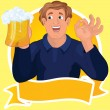Man with beer ribbon vector - Stock Vector