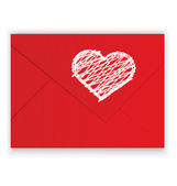 Heart white crayon on red envelope vector — Stock Vector