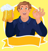 Man with beer ribbon vector — Stock Vector