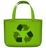 Bolsa reutilizable verde con vector símbolo de reciclaje — Vector de stock