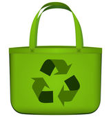 Green reusable bag with recycling symbol vector — Stok Vektör