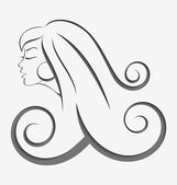Outline girl curly hair cut out — Stock Vector