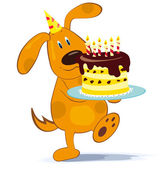 Cartoon dog with cake — Stock Vector