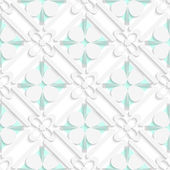 Diagonal clove leaves and flowers on green pattern — Stock Vector