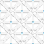 Diagonal white big flowers layered with blue pattern — Stock Vector