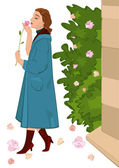 Retro girl with flower near rose bush — Stock Vector