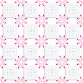 White geometrical perforated leaves and pink flowers seamless — Stock Vector