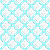 White ornament with cyan seamless — Stock Vector