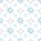 Weiße Spitzen Rauten mit blauen und weißen Schneeflocken nahtlose — Stockvektor