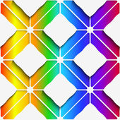 White rectangles ornament on rainbow background seamless pattern — Stock Vector