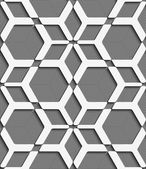 White geometrical net on textured gray seamless pattern — Stock Vector