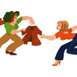 Two cartoon girls fighting over brown jacket — Stock Vector #50733729