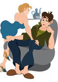 Cartoon man and girl on the chair — Stock Vector