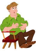 Cartoon man in green polo shirt touching stomach — Stock Vector
