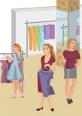 Retro girls in the store picking clothes — Stock Vector