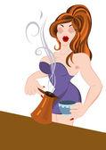 Retro hipster girl pouring coffee — Stock Vector