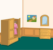 Retro room with wardrobe — Stock Vector