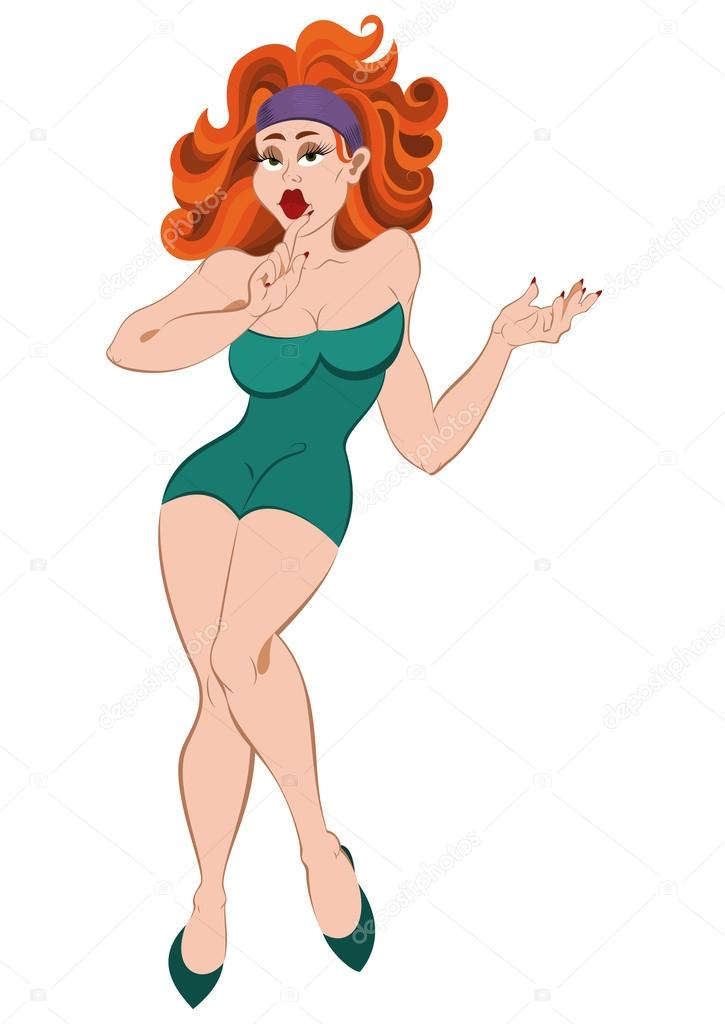 Cartoon girl with big lips and red hair — stock vector