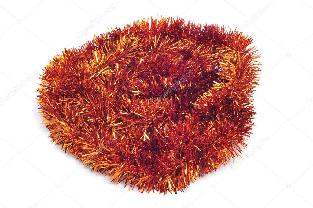 A golden tinsel garland on a white background  — Stock Photo #12456362