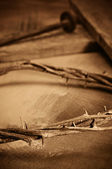 Crown of thorns, cross and nails — Stockfoto