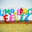 Stock Photo: Cumpleanos feliz, happy birthday written in spanish
