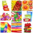Collage of things of different colors - Foto Stock