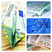 Euro bills collage — Stock Photo