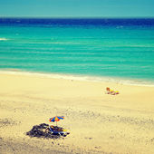 Mal nombre strand in fuerteventura, canarische eilanden, spanje, met een — Stockfoto
