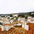 Faked tilt shift of view of Cadaques, Costa Brava, Spain - Stock Photo