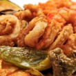 Stock Photo: Spanish combo platter with fries, grilled pepper and fried shrim