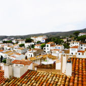 Faked tilt shift of view of Cadaques, Costa Brava, Spain — Stock Photo