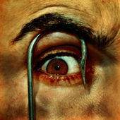 Eye and fish hook — Stock Photo