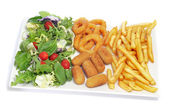 Spanish combo platter with salad, croquettes, calamares and fren — Foto Stock