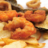 Battered and fried shrimps tapas — Stock Photo