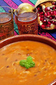 Bowl with harira, the traditional Berber soup of Morocco — Stock Photo