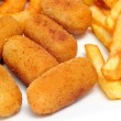 French fries and spanish croquettes - Stock Photo