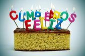 Feliz cumpleaños, feliz aniversário em espanhol — Foto Stock