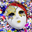 Mask and confetti — Stock Photo