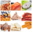 Seafood collage — Stock Photo #17437321