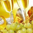 Spanish cava and the grapes of luck - Stock Photo