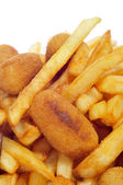 Spanish combo platter with croquettes, calamares and french frie — Foto Stock