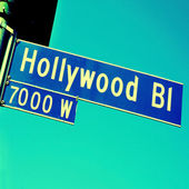 Segno di hollywood boulevard — Foto Stock