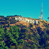 Hollywood sign in Mount Lee, Los Angeles, United States — Stok fotoğraf