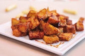 Spanish berenjenas con miel de cana, fried eggplants with molass — Stock Photo